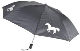 schwarzer Taschenschirm mit Pferdemotiven