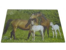 Glasschneidbrett/Ceranfeldabdeckung mit Pferdefamilie