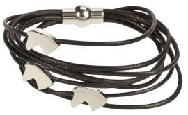 Schwarzes Armband mit drei Pferdeköpfen
