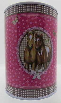 rosafarbene Spardose mit zwei Fohlen